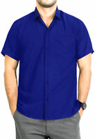 "LA LEELA Rayon Beach Floral Men's Shirt Royal Blue X-Small | Chest 36"" - 38"""