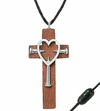 12x WOOD CROSS w/ METAL HEART NAIL NECKLACES - Christian Jewelry Gift Bulk Lot!