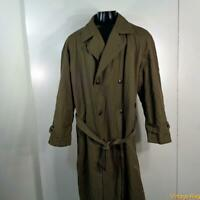 NEWPORT HARBOR Vtg USA Long RAINCOAT Rain Trench Coat Mens L 44 Brown w/ liner