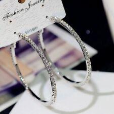 Elegant Crystal Rhinestone Silver Gold Hoop Women Earrings Dangle Drop Jewelry