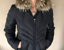 Andrew Marc Womens Black Down Jacket With Racoon Collar