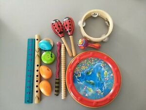 Kids Musical Instruments Set of 12 pieces Toddlers Rhythm Toys Castanets Lot E