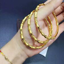 1PCS Pure 999 24K Yellow Gold Bracelet/ 3D Lucky Bamboo Bangle Bracelet 6.1-6.4g