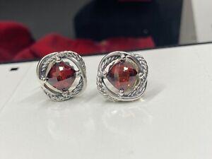 David Yurman 925 Silver 7mm Garnet  Infinity Earrings Earrings