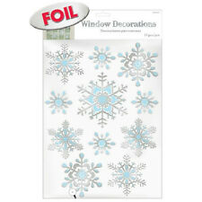 11 Christmas Frozen Embossed Snowflakes Party Foil Window Cling Decorations