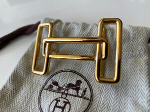 HERMÈS 32MM Belt Buckle GOLD RYTHME H with Pouch