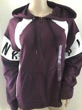 NWT Victoria's Secret PINK Maroon White Colorblock Hoodie Sweatshirt Large