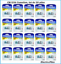 Lot de 20 piles/cells spéciales photos CR123A lithium Camélion