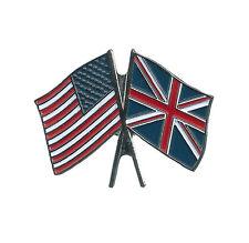 New listing Britain Flag & Usa Flag Lapel Pin Crossed Friendship Pin Brand New