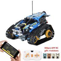 Tracked Stunt Racer App Remote Controlled Building Bricks 406 Pieces (orange)
