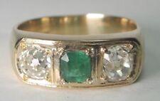 Antique Art Deco Mine Diamond Emerald French Engagement Ring Size 9 18KY Unisex