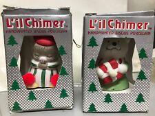2 Vtg L'il Chimer Mouse Bear Hand painted Bisque Porcelain Bells Nib Nos