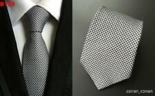 Tie Silk Mens Grey Silver Black Patterned Handmade 100% Silk Wedding Necktie