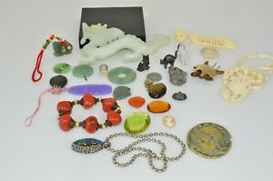 asian carved jade stone carnelian mixed lot of interesting items