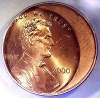 2000-P Lincoln Memorial Cent 20% Off-Center Error ANACS MS65 Bright Red!