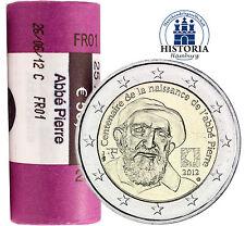 25 x francia 2 euros monedas conmemorativas de 2012 BFR Abbe pierre en papel
