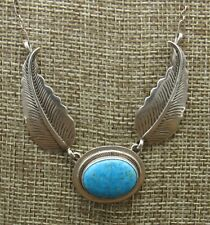 Sterling Silver Navajo Kingman Turquoise Necklace by Lyle Piaso