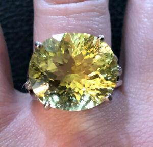 Sterling Silver Ring Lemon Quartz Oval Zircon 10 Cts Sz 7.5 6g Rhodium 925 #1364