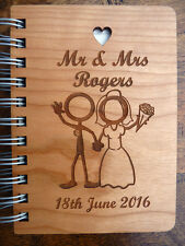 Personalised Wedding Gift: Wooden engraved Journal / Notebook. Custom & Unique