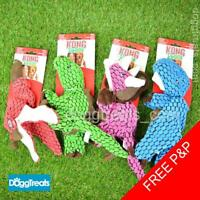 KONG Dynos Dog Toy - Soft Plush Fabric & Leather Parts - Squeaker Dinosaur Dino