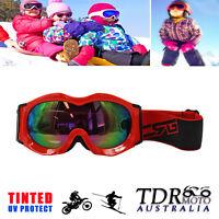 RED Snow Snowmobile Snowboard SKI UV GOGGLES Kids Boy Girl Winter Sports