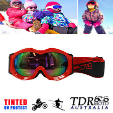 YOUTH TINTED GOGGLES MX MOTORCROSS OFFROAD KIDS GOGGLES EYE SAFETY - RED FRAME