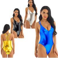Women One Piece Shiny Swimwear Wetlook Metallic V Neck Monokini Bodysuit Thongs
