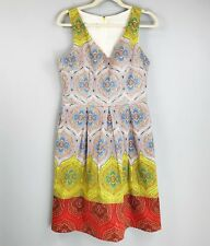 LONDON TIMES Paisley Dress SZ 10 Fit & Flare Sleeveless Ombre Bright Colors