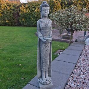 Steinfigur stehender Buddha schmal Shiva Göttin Stein Steinguss Farbe Grau 67 cm