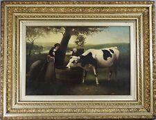 "Oil Painting Milkmaid W/cows Signed Hugh Bolton Jones New York 43 ""x 33"""