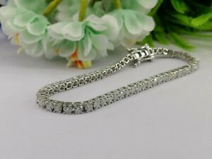 3mm Round Cut Brilliant Moissanite Bracelet 14K Solid White Gold Bracelet 7.5""