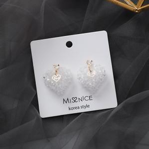White Heart Drop Stud Earrings 925 Silver Pin Ladies Fashion Jewellery Gift