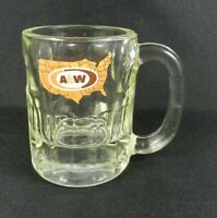 "Vintage AW Root Beer Mug Clear Glass 4.5"" Tall United States Logo Heavy"