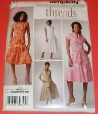 Simplicity Pattern 3877 Misses Sz 6-14 Tie Mock Wrap Dress THREADS UC