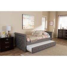 Swamson Modern and Contemporary Grey Fabric Tufted Twin Size Daybed NEW