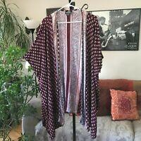 ANGIE sz M Burgundy & Teal Blue Print Open Kimono Cardigan Boho Bohemian