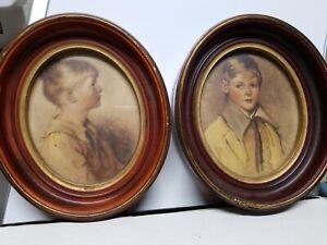 Vintage Framed Prints of Charlotte and Peter by Sidney Bell & Arthur Garrett
