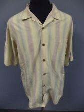 TOMMY BAHAMA Yellow Red Striped Silk Button Down Short Sleeve Shirt Sz L DD5615