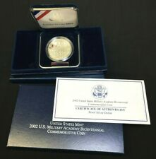 2002 P ***PROOF*** WEST POINT MILITARY ACADEMY SILVER DOLLAR WITH BOX & COA