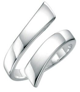 Elements 925 Polished Sterling Silver Contemporary Wide Band Wraparound Ring