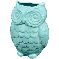 Aqua Blue Owl Design Ceramic Cooking Utensil Holder/Kitchen Storage Crock