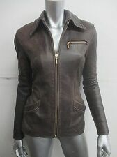 Vintage 90S Pebbled Leather Cocoa Brown Fitted Rugged Jacket Sz S