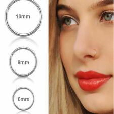 US-3 PCS Surgical Steel Thin Small Silver Nose Ring Hoop Cartilage Piercing Stud