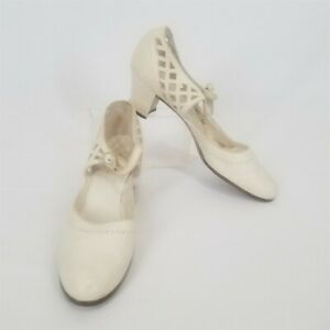 Vintage 1920s Flapper Off-White Leather Wedding Bridal Shoes Size 7N
