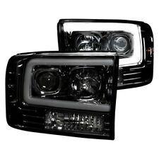 Recon Black/Smoke Projector Headlights w/ OLED HALOS for 99-04 F250/350/450/550