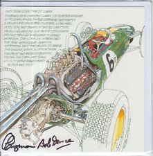 Clive Chapman and Bob Dance Hand Signed Lotus Post Card Very Rare F1 2.