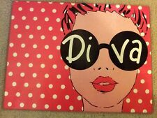 """Pink White Polka Dot Glamour Diva Glass Cutting Board/Serving Tray """"NEW"""""""