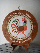 Vintage Wooden Rooster Decorative Cutting Chopping Board Brass Ring Wall Hanging
