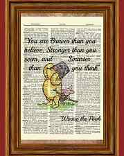 Winnie the Pooh Dictionary Art Print Picture Poster Classic Vintage Braver Quote