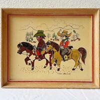"Vintage 50's Hand Printed Western Artwork ""Dude Ranch Kids"" By Denis Allemand"